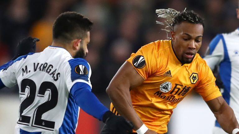 Wolves' Adama Traore battles for possession with Matias Vargas of Espanyol