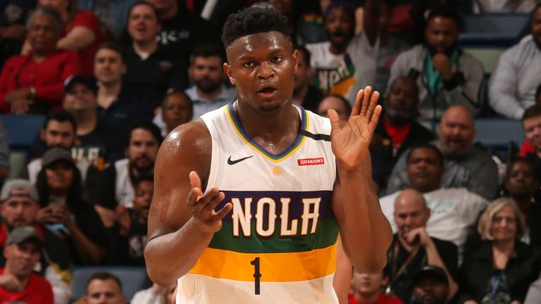 Zion Williamson encourages his team-mates during the Pelicans' win over the Blazers