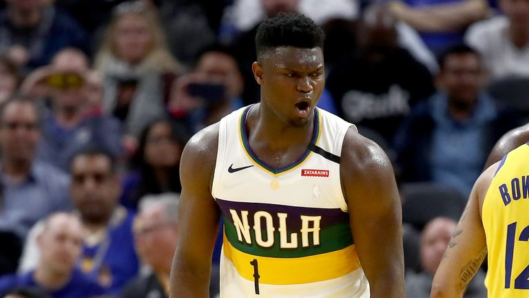Zion Williamson of the New Orleans Pelicans reacts against the Golden State Warriors