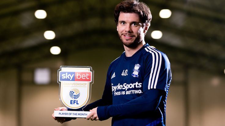 Birmingham City...s Scott Hogan receives his Sky Bet Championship Player of the Month award for February 2020 - Mandatory by-line: Ryan Hiscott/JMP - 12/03/2020 - SPORT- Trillion Trophy Training Centre - Birmingham, United Kingdom - Sky Bet Championship Player of the Month - February 2020 - Scott Hogan