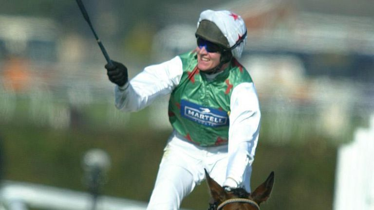 File photo dated 05-04-2003 of Monty's Pass ridden by Barry Geraghty celebrates as he passes the post to win the 2003 Martell Grand National. PA Photo. Issue date: Tuesday March 31, 2020. Grand National hero Monty..s Pass is still going strong at the age of 27 at trainer Jimmy Mangan..s stables in Conna, County Cork .. where he has lived since the age of four. See PA story RACING National Pass. Photo credit should read Phil Noble/PA Wire.