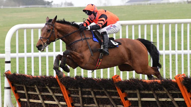 Jetz ridden by jockey Robbie Power jumps the last post to win the BetVictor Hurdle at Thurles Racecourse