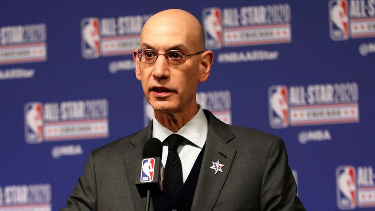 Adam Silver address the media at All-Star Weekend in Chicago