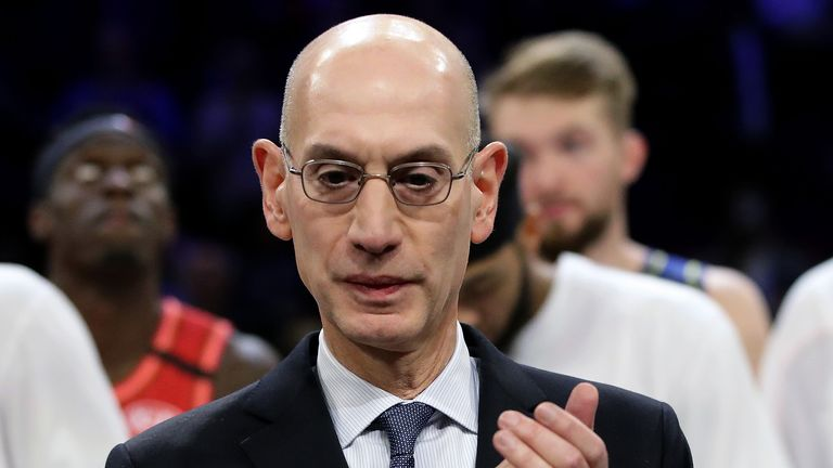 NBA commissioner Adam Silver pictured on court after the 2020 All-Star Game