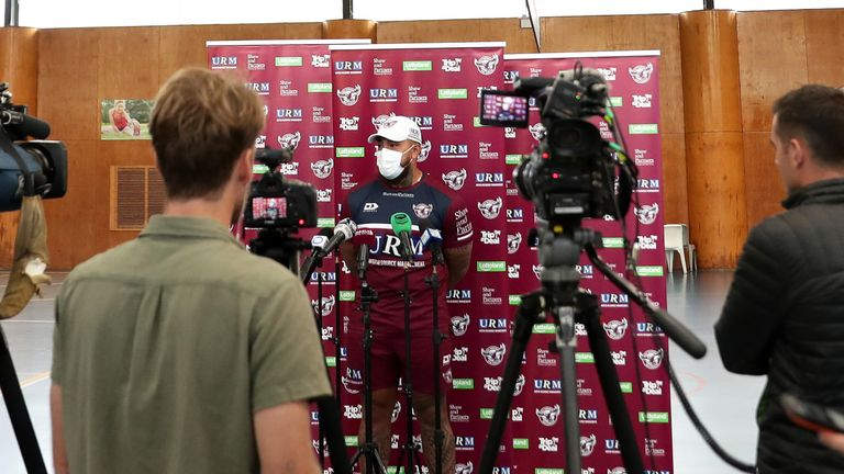 Manly's Addin Fonua-Blake wears a mask during a media session