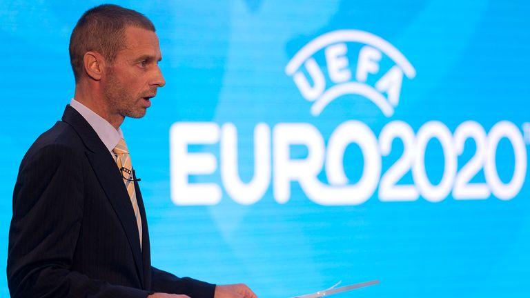 UEFA president, Aleksander Ceferin speaks an event to launch the logo for the 2020 UEFA European Championship football tournament in London on September 21, 2016.