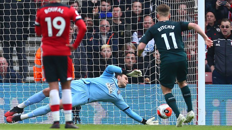 Alex McCarthy of Southampton saves a penalty shot from Matt Ritchie of Newcastle United