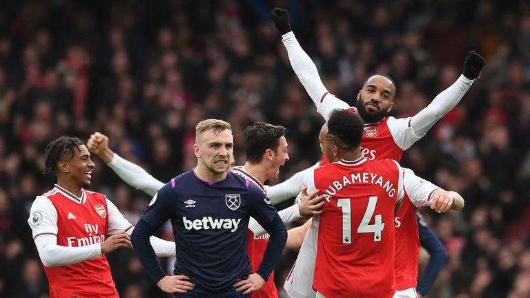 Alexandre Lacazette celebrates his goal against West Ham