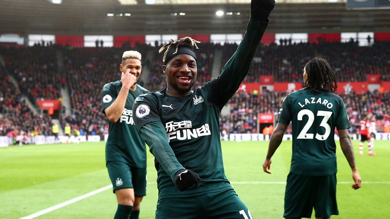 Allan Saint-Maximin of Newcastle United celebrates after scoring