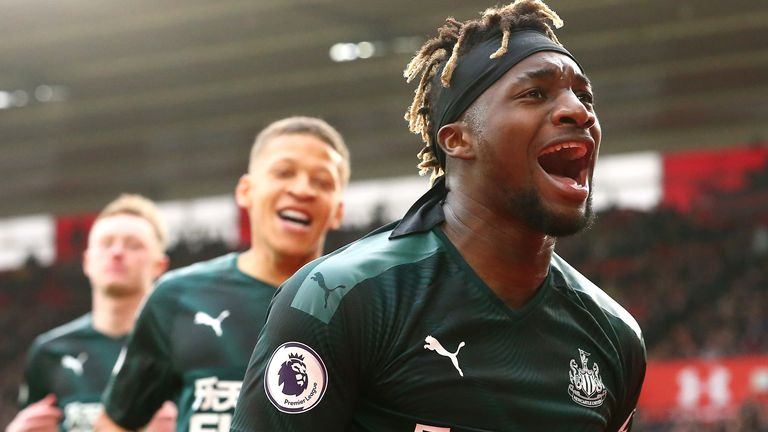 Allan Saint-Maximin celebrates his goal against Southampton