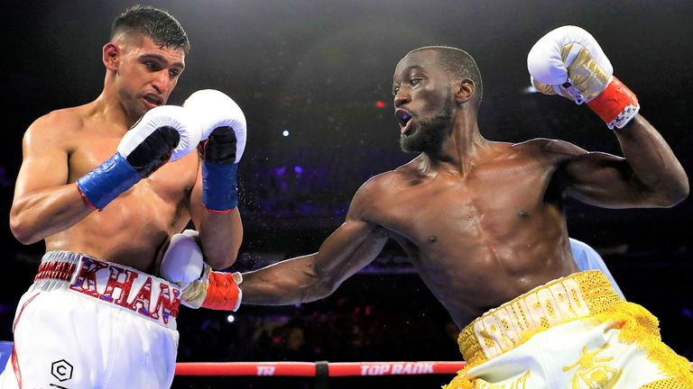Amir Khan suffered a  stoppage loss to Crawford in New York