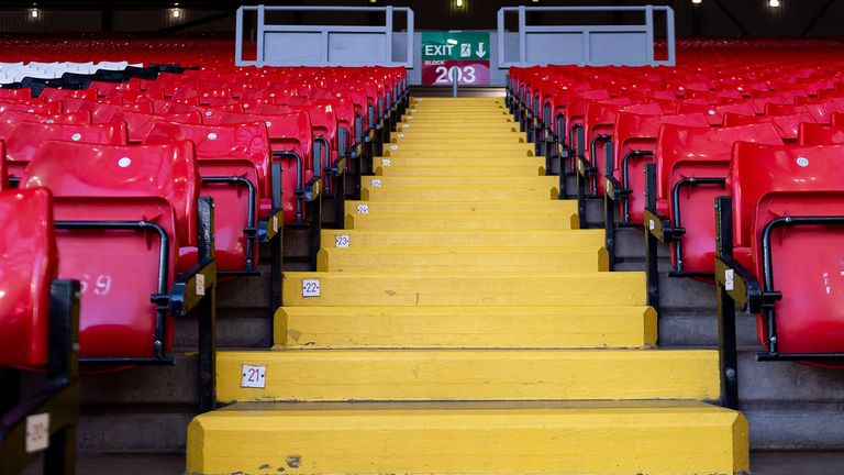 general view inside the empty stadium prior to the UEFA Champions League round of 16 second leg match between Liverpool FC and Atletico Madrid at Anfield on March 11, 2020 in Liverpool, United Kingdom
