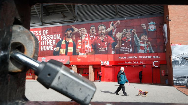 A general view of a locked gate at Anfield following a suspension of all Premier League due to the Coronavirus pandemic