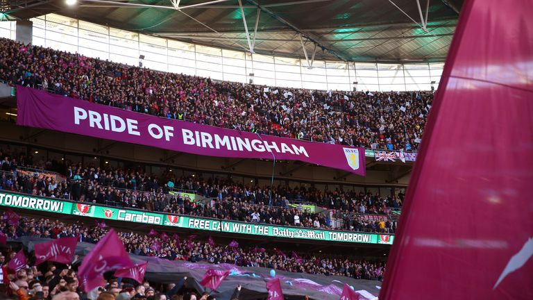 Aston Villa fans display a Pride of Birmingham banner during the Carabao Cup final