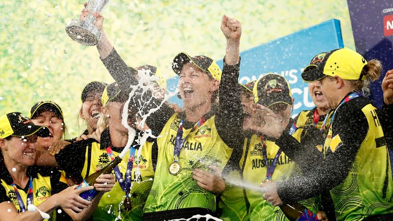 Australia Women celebrate winning the T20 World Cup in earlier this month
