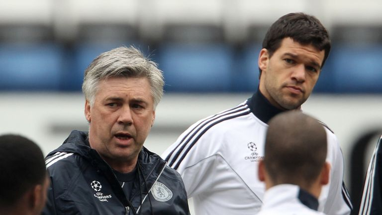 Ballack listens in as Carlo Ancelotti speaks to the Chelsea squad before a Champions League tie