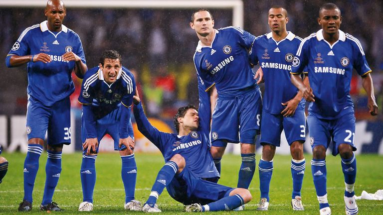Michael Ballack collapses to the floor in Chelsea's penalty shoot-out defeat to Manchester United in the 2008 Champions League final