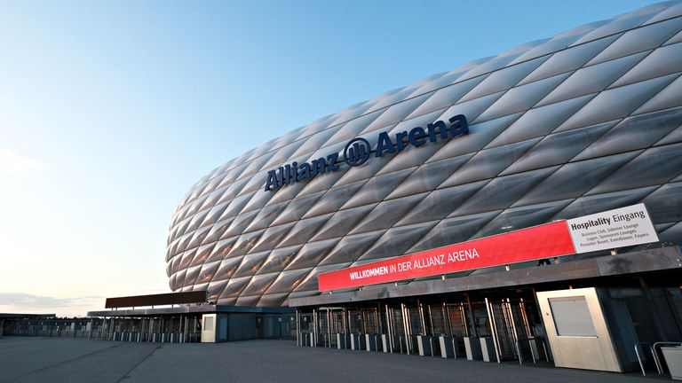 A general view outside of the Allianz Arena in Munich