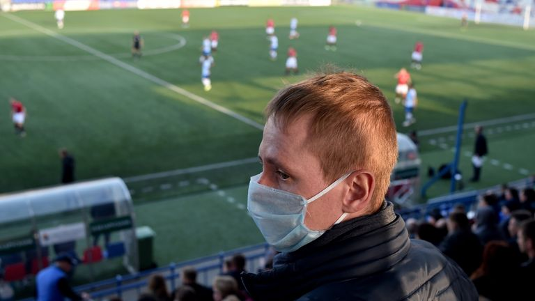 Professional football has ground to a halt around the world - but not in Belarus