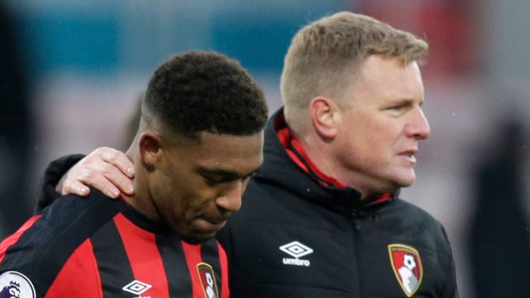 BOURNEMOUTH, ENGLAND - MARCH 17: Eddie Howe, Manager of AFC Bournemouth embraces Jordon Ibe following the Premier League match between AFC Bournemouth and West Bromwich Albion at Vitality Stadium on March 17, 2018 in Bournemouth, England. (Photo by Henry Browne/Getty Images)