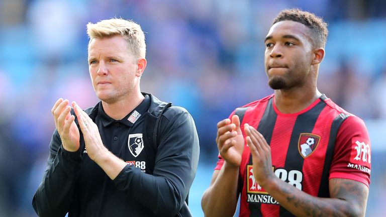 LEICESTER, ENGLAND - AUGUST 31: Eddie Howe, Manager of AFC Bournemouth and Jordon Ibe of AFC Bournemouth acknowledge the fans following their teams defeat in the Premier League match between Leicester City and AFC Bournemouth at The King Power Stadium on August 31, 2019 in Leicester, United Kingdom. (Photo by Marc Atkins/Getty Images)