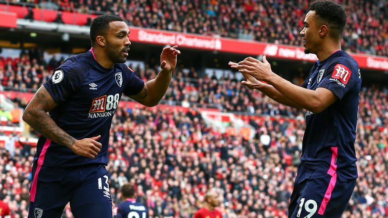 Callum Wilson of Bournemouth celebrates after scoring a goal to make it 0-1