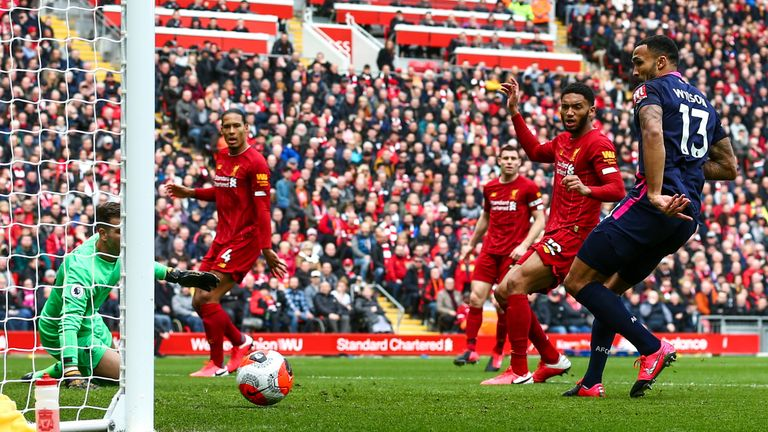 Calum Wilson makes it 1-0 at Anfield