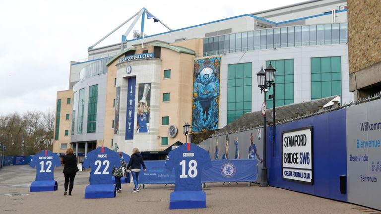 An exterior view of Chelsea's Stamford Bridge stadium