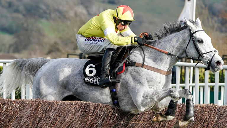 Harry Skelton riding Politologue clear the last to win The Betway Queen Mother Champion Chase on Ladies Day at Cheltenham