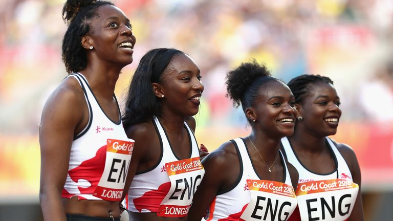 Dina Asher-Smith, second from right, is one of many facing a potential clash if the World Athletics Championships are moved