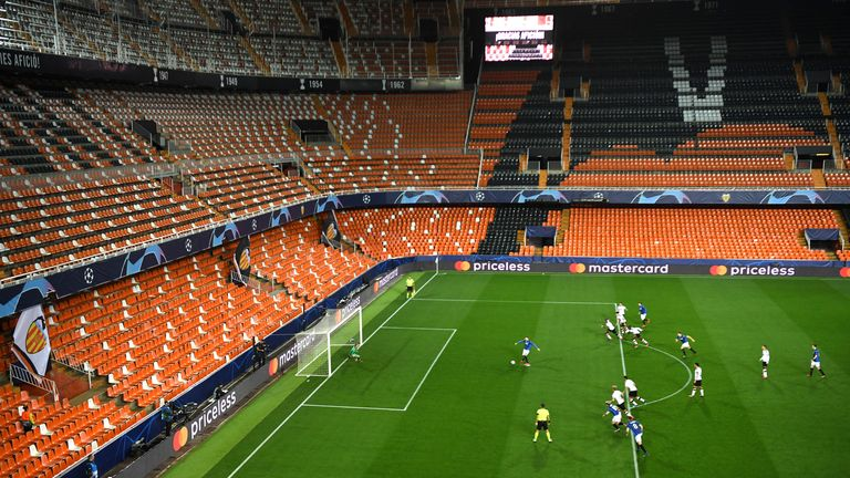 Josip Ilicic of Atalanta scores his team's first goal against  Valencia as they are forced to play behind closed doors due to the Coronavirus pandemic