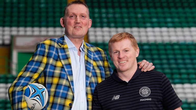 Doddie Weir (L) and Celtic manager Neil Lennon are pictured following the launch of a fundraising effort in support of MND charities