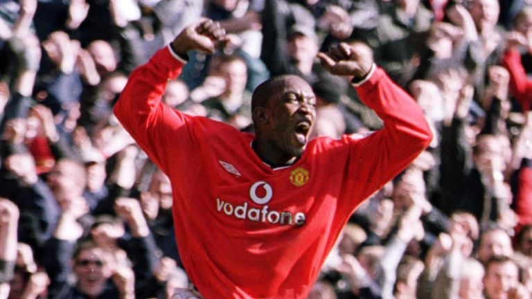 Dwight Yorke scored a hat-trick as Man Utd thrashed Arsenal at Old Trafford on February 25, 2001