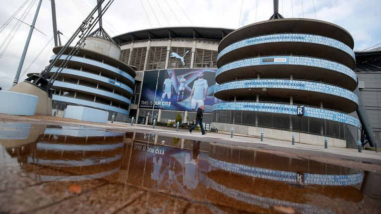 A view outside the Etihad Stadium in Manchester. All Premier League football has been suspended in response to the Coronavirus pandemic
