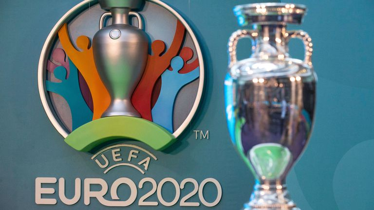 UEFA European Championship trophy and branding are displayed during a launch event in London