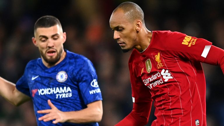 Fabinho in action with Mateo Kovacic at Stamford Bridge