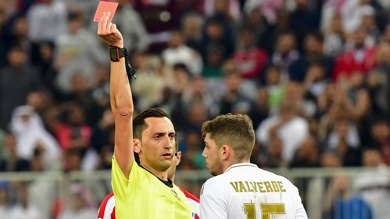 The Uruguayan was sent off, but was later named as man of the match for his overall performance