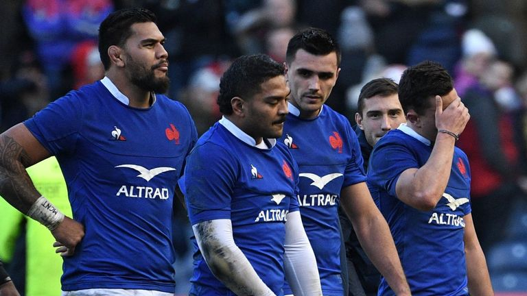 France were left dejected after their loss to Scotland
