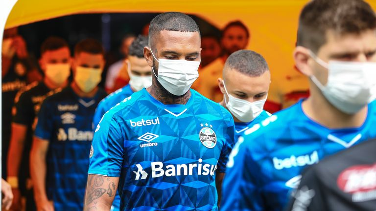 Players at Brazilian club Gremio wore face masks in protest at their match taking place despite the coronavirus outbreak