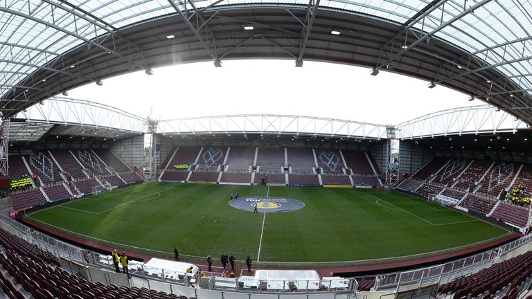 General view inside the stadium prior to kick off during the Scottish Cup Quarter Final match between Hearts and Rangers at Tynecastle Park on February 29, 2020 in Edinburgh, Scotland. (Photo by Mark Runnacles/Getty Images)