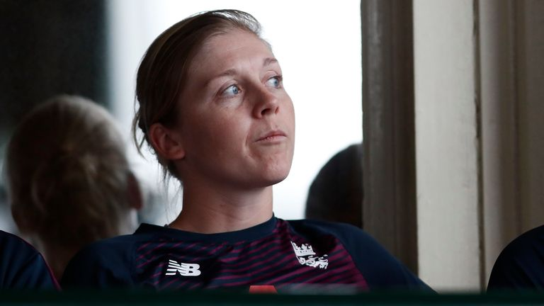 England captain Heather Knight looks on as rain wrecks her side's semi-final against India in the T20 World Cup