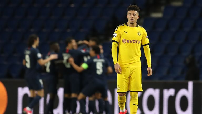 Jadon Sancho reacts to Juan Bernat's strike on the stroke of half-time