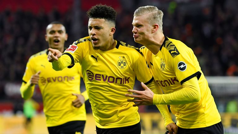 Jadon Sancho celebrates with Erling Haaland