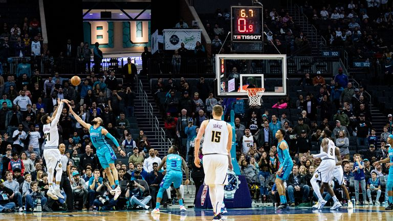 Jamal Murray of the Denver Nuggets makes the game winning shot in the final seconds of the fourth quarter during their game against the Charlotte Hornets