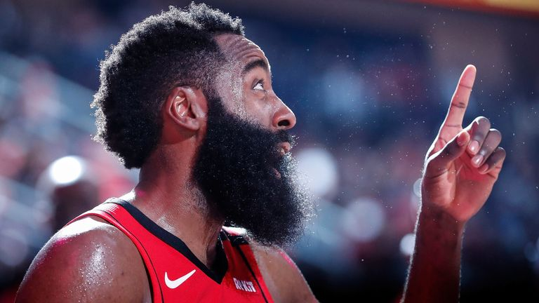 James Harden gestures during the Rockets' win over the Timberwolves