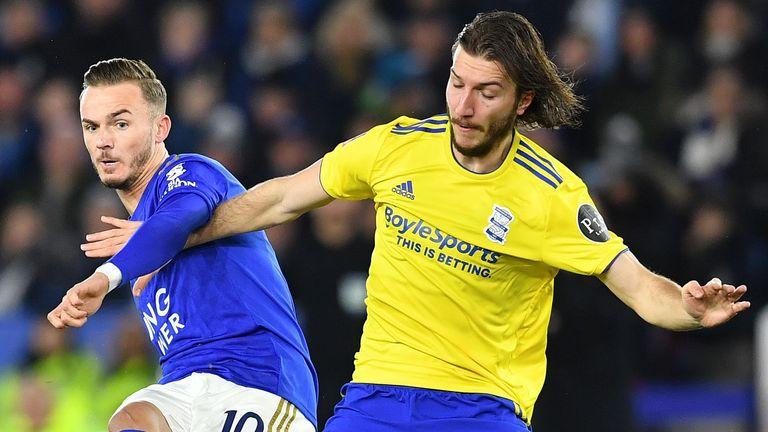 Birmingham City's Croatian midfielder Ivan Sunjic (R) vies with Leicester City's English midfielder James Maddison