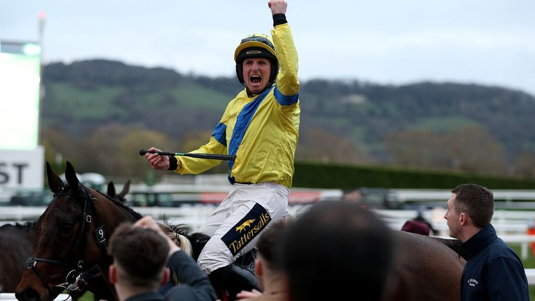 Jockey Jamie Codd celebrates victory in the National Hunt Challenge Cup Amateur Riders' Novices' Chase on Ravenhill on day one of the Cheltenham Festival at Cheltenham Racecourse, Cheltenham. PA Photo. Picture date: Tuesday March 10, 2020. See PA story RACING Cheltenham. Photo credit should read: Andrew Matthews/PA Wire. RESTRICTIONS: Editorial Use only, commercial use is subject to prior permission from The Jockey Club/Cheltenham Racecourse.