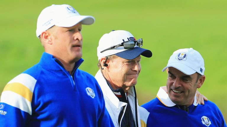 Paul McGinley (right) captained Team Europe at the 2014 Ryder Cup