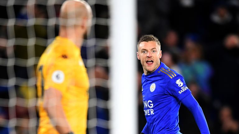 Jamie Vardy scored his first goal of 2020 to double Leicester's lead