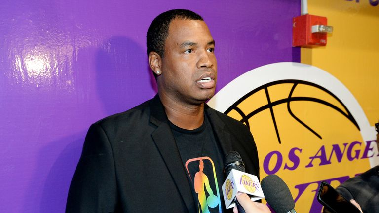 Jason Collins addresses the media at a Los Angeles Lakers game